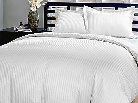 White Stripe King Duvet Set In Egyptian Cotton 800 Thread Count by Scala