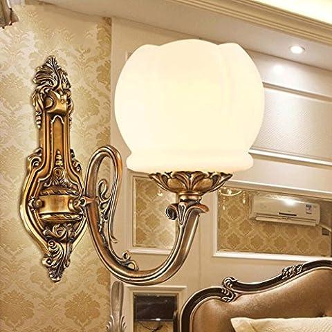 FHK,Wandleuchten Europäische Kupfer Wandleuchte Wohnzimmer TV Hintergrund Wandlampe Jahrgang Wandlampe Schlafzimmer Nachttischlampen Marmor Dekorative Wandleuchten ( Farbe : One )