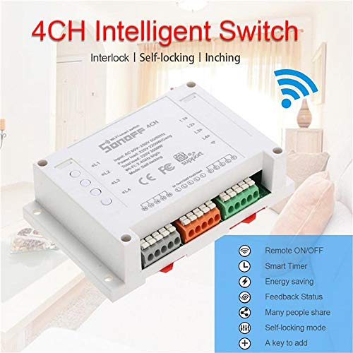 Noodei Sonoff 4CH Smart WiFi Switch 4-Gang 4-Wege-Wireless-Switches Din-Schienenmontageautomation Wetterstationen