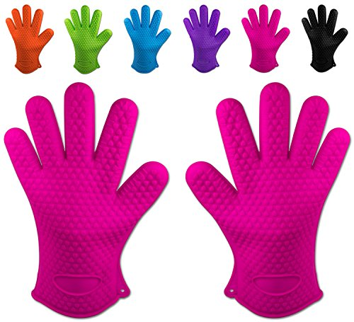 Belmalia 2 guanti da forno in silicone per cucina e griglia, kit, coppia, presine, guanti da forno Rosa Fucsia
