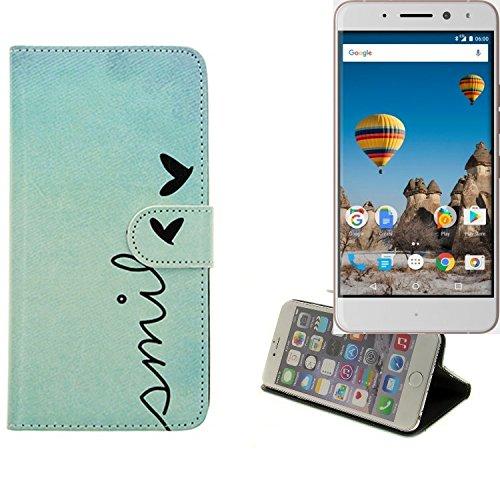 K-S-Trade Für General Mobile GM 5 Plus Hülle Wallet Case Schutzhülle Flip Cover Tasche bookstyle Etui Handyhülle ''Smile'' türkis Standfunktion Kameraschutz (1Stk)