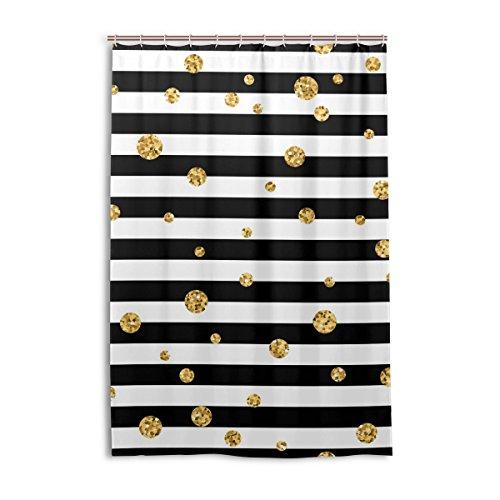 My Daily schwarz und weiß gestreift mit Gold Dot Print Vorhang für die Dusche 121,9x 182,9cm, schimmelresistent & Wasserdicht Polyester Dekoration Badezimmer Vorhang