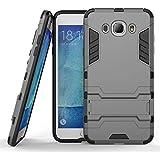 Samsung J7 Funda Fodlon® Combo Protección para caer y absorción de impactos teléfono celular de cubierta protectora con pata de cabra para Samsung Galaxy J7 2016 (No ajustar Otros modelos de la serie J7)-gray