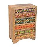 Orientalische Mini-Kommode handbemalte Schminkkasten Nähkästchen aus Massiv Holz | Kästchen Schatulle Box Apotherschrank mit 6 Schubladen | Schmuckkasten Prajna