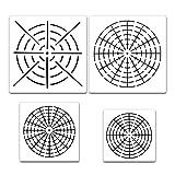 HAN 6Mandala Dot-Painting Schablonen für Holz Stein Möbel Karten Stoff Airbrush und Wänden Art