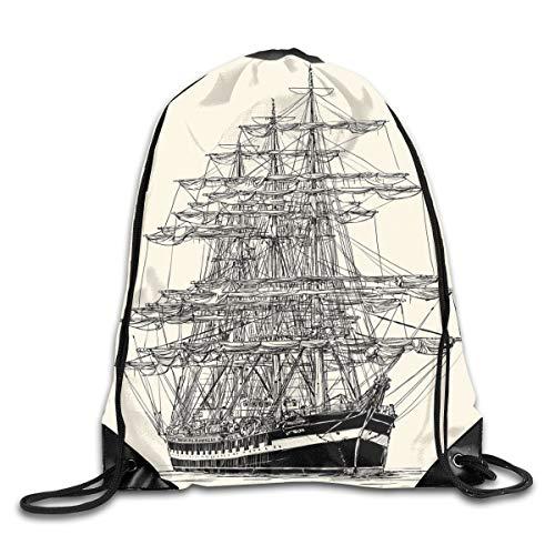 New Shorts Sailing Boat Detailed Illustration Nautical Maritime Theme Vintage Style Art Drawstring Backpack Rucksack Shoulder Bags Sport Gym Bag for Men and Women (Nautical Swim Shorts)