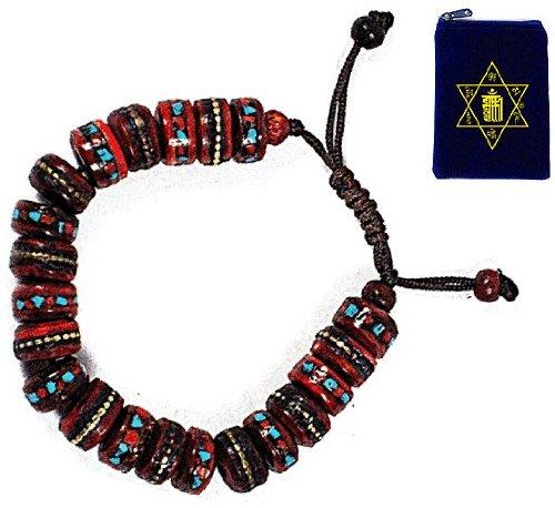 TIBETAN MEDICINE WRIST MALA ~ Yak Bone, Turquoise, Coral, Copper, White Metal, & Brass ~ Healing Bracelet w/ Om Mani Mala Bag ~ Red