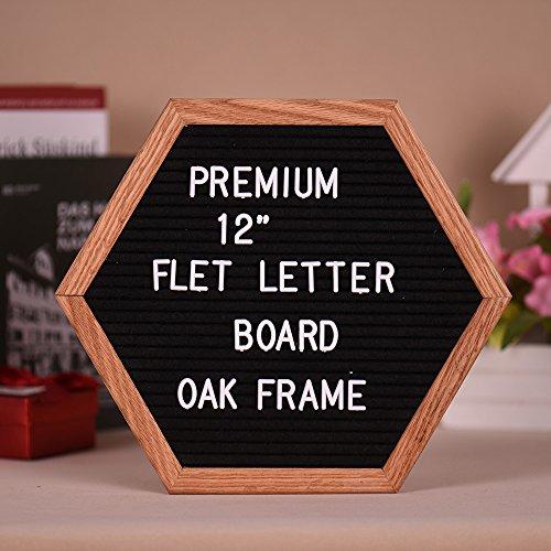 Zoll 12 Holz-buchstaben (Aibecy 12 inch Brief Board einzigartige Hexagon Zeichen Nachricht Home Office Decor Board Eiche Rahmen mit 290 veränderbare weiße Buchstaben Symbole Zahlen Zeichen Tasche Sägezahn Wandhalterung Haken)