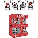 Rolling Stones - Mix 4-er Set Schnapsgläser Mini Gläser Schnaps Glas Set - je 2 cl Höhe 6 cm Ø 5 cm am oberen Rand