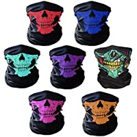 AOFOX 7 Pieces Seamless Skull Face Tube Mask Motorcycle Face Skull Mask for Halloween Bike Motor Cycling
