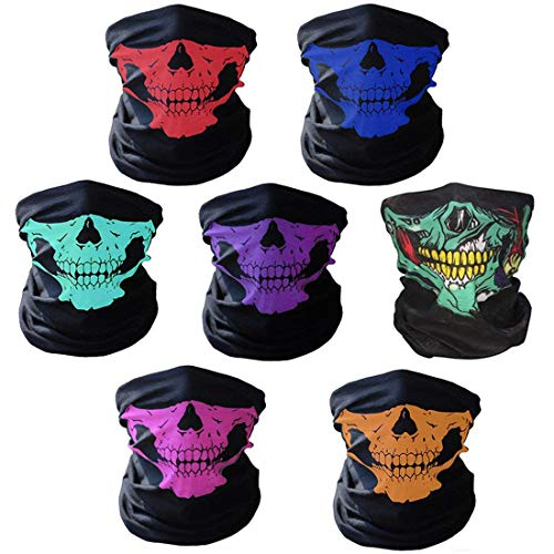 AOFOX 7 Pezzi Cranio Senza Soluzione di Tubo Maschera facciale Maschera facciale Cranio per Halloween Moto Motociclismo