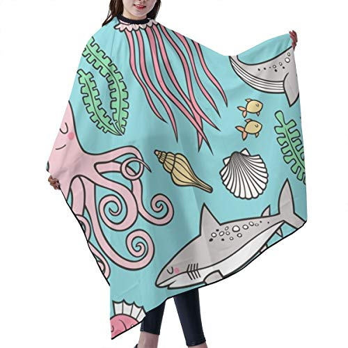 Barber Cape,Ocean Marine Sea Life Doodle With Shark, Whale, Octopus, Yellyfish, Seaturtle On Blue Salon Polyester Cape Haircut Apron 55