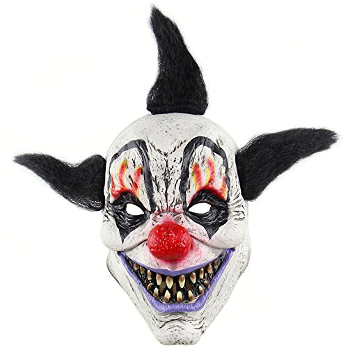Wongfon Latex Clown Maske Böse für Erwachsene Kinder Horror Requisiten Halloween Kostüme Gruselige Party Circus ()