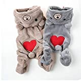 ASOSMOS Fashion Teddy Dog Puppy Pet Jumpsuit Clothes Winter Warm Jacket Pets Fleece Hooded Coat
