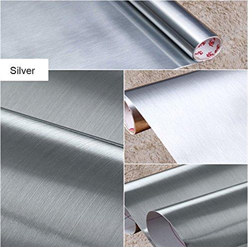 Papel autoadhesivo de vinilo impermeable, color metal cepillado. Despega y adhiere, forro para estantes, para cubrir mesadas o alacenas, adhiere a paredes (61 x 200cm color plata)
