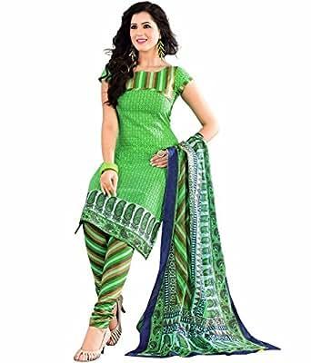 AJ FASHIONS Women's Cotton Dress Material (AJ9001_Free Size_Green)
