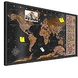 PINNWAND WELTKARTE - NEUHEIT - XL FORMAT: 100x50 cm | 3D SCHWARZ HOLZRAHMEN | Design-Weltkarte: Europa vergrößert! | Aktueller Stand - 2017 | Solide Halterung | Top Deko-Idee fürs Zuhause & Büro Kork Korkwand Kontinente Lernkarte Welt
