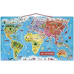 Janod - J05500 - Puzzle Monde Magnétique - Version française (bois)
