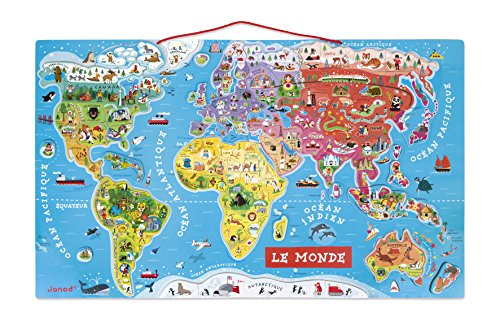 Janod Magnetic Puzzle of the World of Wood 92 Pieces, French Version (J05500)