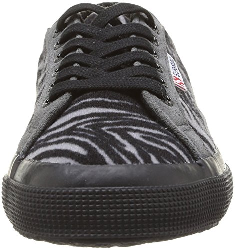 Superga  2750 Fabricwzebra,  Sneaker unisex adulto Nero (Noir (966 Zebra Grey/Black))