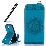 Galaxy S4 Mini I9190,BtDuck Hülle Leder Blau 360 Grad Flip Cover Vertikal Klappbar aus Echtleder Wallet Case mit Magnet Luxusdesign Vintage Look Soft Backcover Schutzhülle für Samsung Galaxy S4 Mini