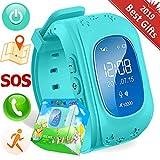 TURNMEON Smart Watch Enfants Montre Connectées GPS Locator Tracker Téléphone Anti-perte SOS Poignet Bracelet pour IOS Android Smartphones (04Ciel Bleu)