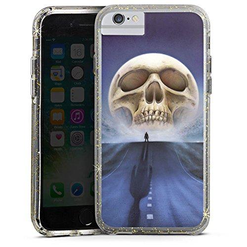 Apple iPhone 8 Bumper Hülle Bumper Case Glitzer Hülle Street Totenkopf Skull Bumper Case Glitzer gold