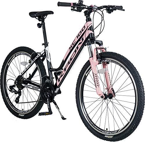 KRON XC-100 Hardtail Aluminium Damen Mountainbike 26 Zoll | 21 Gang Shimano Kettenschaltung mit V-Bremse | 15 Zoll Rahmen Damenfahrrad MTB Erwachsenen- und Jugendfahrrad | Schwarz & Pink