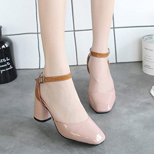 RUGAI-UE Donne fibbia sandali estivi scarpe retrò Pink