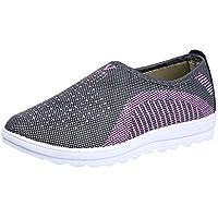 Tefamore Zapatillas de Deportivos de Running para Mujer Gimnasia Ligero Malla Algodón Sneakers Zapatos Perezosos Rojo Gris Púrpura