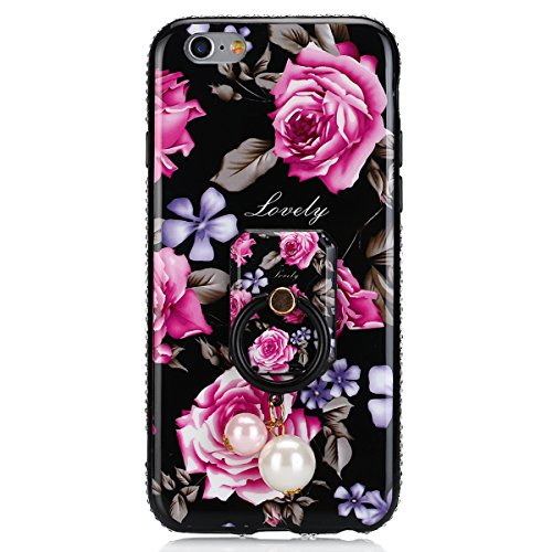 Custodia iPhone 6, iPhone 6S Cover Flower, SainCat Custodia in Silicone Morbida e Hard PC Protettiva Cover per iPhone 6/6S, Custodia Bling Glitter Strass Diamante 3D Design Ultra Slim Silicone Case Ul Peonia