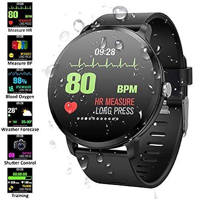 Padgene Pulsera Actividad Reloj Inteligente SmartWatch Deportivo IP67 Bluetooth con Pulsómetro Monitor de Sueño, Música, Cámara Remota, Notificación de Llamada Mensaje para Android e iOS