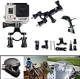 SAVFY Gopro Mounts - Motorcycle Bike Sport Handlebar Seatpost Pole Mount With 3 Way Pivot Arm for GoPro Hero 2 Hero3 Hero3+ Cameras