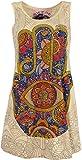 Guru-Shop Mirror Top, Longshirt, Minikleid, Damen, Fatimas Hand/Elfenbein, Baumwolle, Size:S (36), Bedrucktes Shirt Alternative Bekleidung