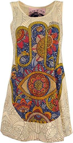 Guru-Shop Mirror Top, Longshirt, Minikleid, Damen, Fatimas Hand/Elfenbein, Baumwolle, Size:L (40), Bedrucktes Shirt Alternative Bekleidung