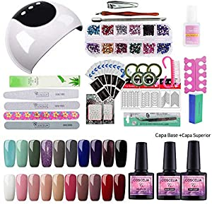 Saint-Acior 24W UV/LED Lámpara Uñas Secador de Uñas 20PC Esmalte Semipermanente Gel Uñas Soak off 8ml Top Coat Base Coat Herramientos de Uñas Arte