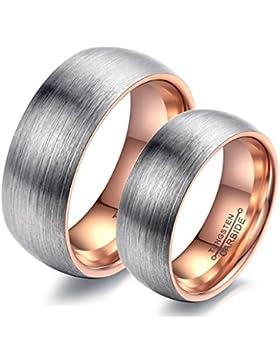 Bishilin 6MM(Damen) 8MM(Herren) Eheringe Verlobungsringe Wolframcarbid Ring Rose Vergoldet Hochzeitsring(Preis...