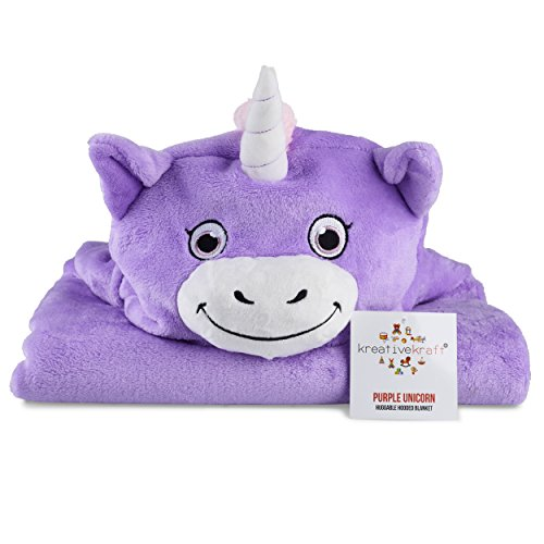 Kids Huggable Hooded Blanket - Plüsch Einhorn Decke für Baby Boys & Baby Girls - Kinder Tier Comfy Hoodie - Komfortabel, Super Sot, Warm & Snug - Leicht zu reinigen