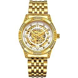 binlun Herren 18K Gold Ton Edelstahl Skelett Armbanduhr mit Leuchtzeigern