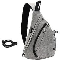 Vbiger Sac à bandoulière Bride de toile USB Paquet de poitrine rechargeable occasion messager de sac extérieure Corps croisé