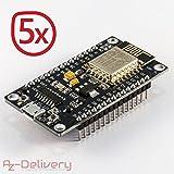 AZDelivery ⭐⭐⭐⭐⭐ NodeMCU Lua Lolin V3 Module ESP8266 (ESP-12E), Carte de développement Development Board Wi-FI avec CH340 (5X NodeMCU Lolin)