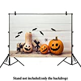 Allenjoy 7x5ft photography backdrop background Halloween pumpkins gift boxes decorative spiders wooden table white boards floor kids baby shower props photo studio booth