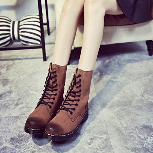 &ZHOU Bottes d'automne et d'hiver courtes bottes femmes adultes Martin bottes Chevalier bottes a22 Brown
