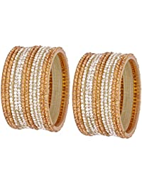 NMII Glamorous & Fashionable Golden & Silver Color Glass Bangles Set Studded With Full Zircon Work For Women &...