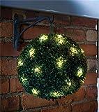Solar Topiary Ball Sphere / Pagoda / Heart Bush Garden Patio Ornament 20 LED Lights (1 x Hanging Topiary Ball)