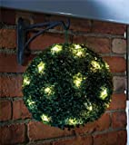 Solar Topiary Ball Sphere / Pagoda / Heart Bush Garden Patio Ornament 20 LED Lights (1 x Hanging Topiary Ball) - MTS - amazon.co.uk