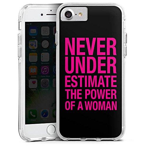 Apple iPhone 8 Bumper Hülle Bumper Case Glitzer Hülle Power Women Frauen Workout Bumper Case transparent