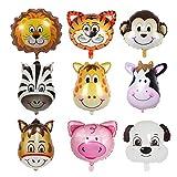 9pcs aluminium ensemble d'hélium animaux ballon, gonflables ballons Jungle pour fête d'enfants bébé garçon, tête d'animal géant ballons pour1-2-3 -5-6-7-8-9 ans cadeau décoration d'anniversaire(60cm)