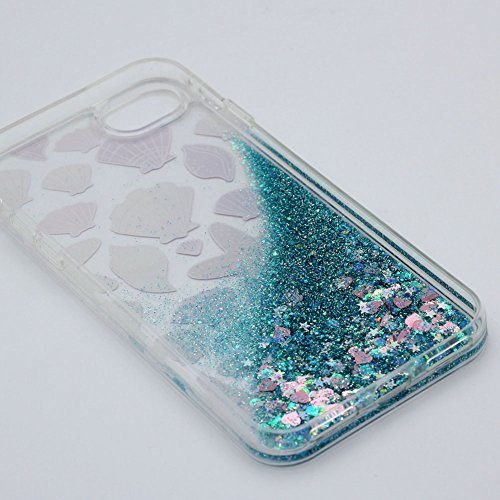 Cover Liquido per Apple iPhone 7 / 8 Plus , Keyihan Ragazza Donna Custodia Rosa Style Divertenti Brillantini Glitter Bling Liquid Flowing Case in Plastica Rigida e Silicone Morbido (Palloncino) stella di Mare Conchiglia /Blu