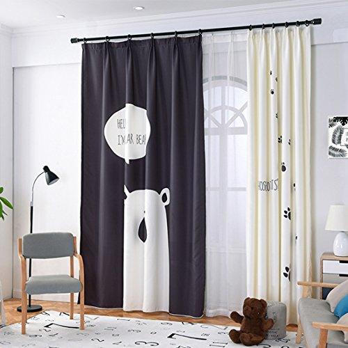 GWELL Kinderzimmer Gardinen Vorhang Bär Motiv Ösenschal Dekoschal für Wohnzimmer Schlafzimmer 245x140cm(HxB) 1er-Pack(weiß rechter Schal nur)